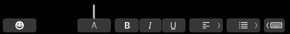 TouchBar, jossa on Värit-painike muiden ohjelmakohtaisten painikkeiden joukossa.