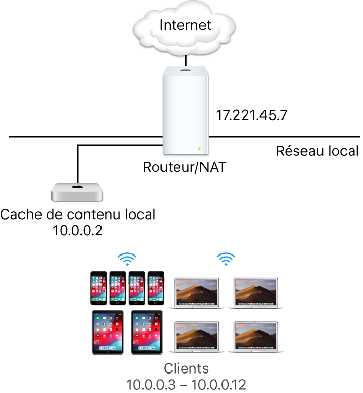 Un serveur de mise en cache avec un sous-réseau unique.