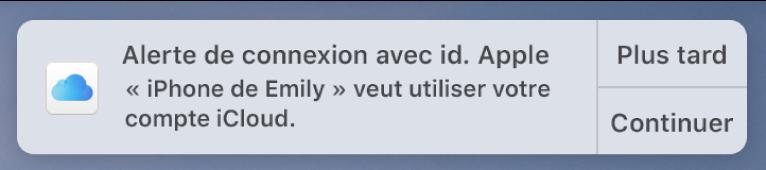 Notification de l'appareil demandant l'approbation pour TrousseauiCloud.