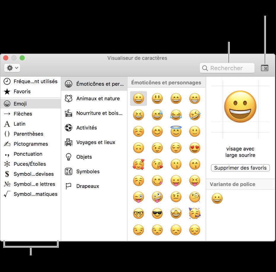 La fenêtre Visualiseur de caractères. Sélectionnez une catégorie à gauche pour parcourir les caractères ou les symboles. Dans le champ de recherche, saisissez un nom ou un code de symbole pour trouver un caractère spécifique. Cliquez dans le coin supérieur droit pour développer ou condenser le visualiseur.
