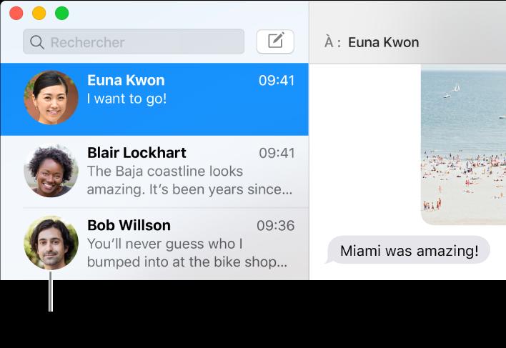 Barre latérale de l'app Messages affichant les images qui représentent les personnes en regard de leurs noms.