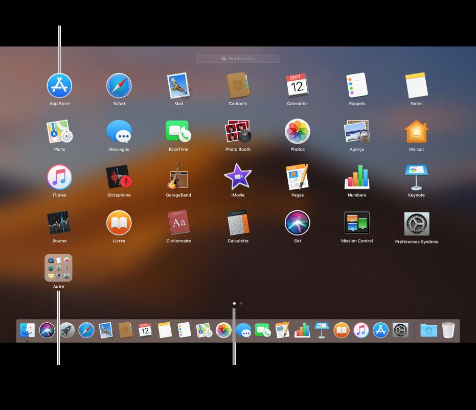 Launchpad affichant les apps que vous pouvez ouvrir.