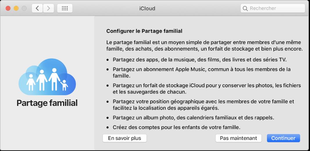 La sous-fenêtre de configuration Partage familial dans les préférences iCloud.