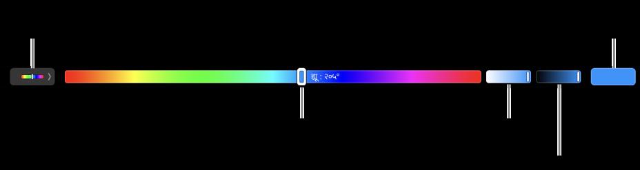 HSB मॉडल के लिए ह्यू, सैचुरेशन और ब्राइटनेस स्लाइडर दिखाने वाला Touch Bar। बाएँ सिरे पर सभी प्रोफ़ाइलों को प्रदर्शित करने वाला बटन होता है और दाईं ओर किसी कस्टम रंग को सहेजने वाला बटन होता है।