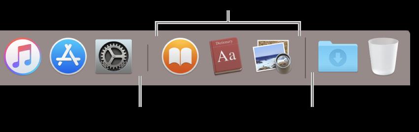 Dock में ऐप्स और फ़ाइल और फ़ोल्डर के बीच विभाजक रेखा।