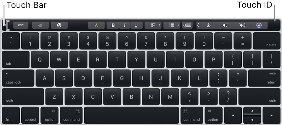 संपूर्ण ऊपरी भाग में फैले Touch Bar वाला कीबोर्ड; Touch ID, Touch Bar के दाएँ किनारे पर स्थित होता है।