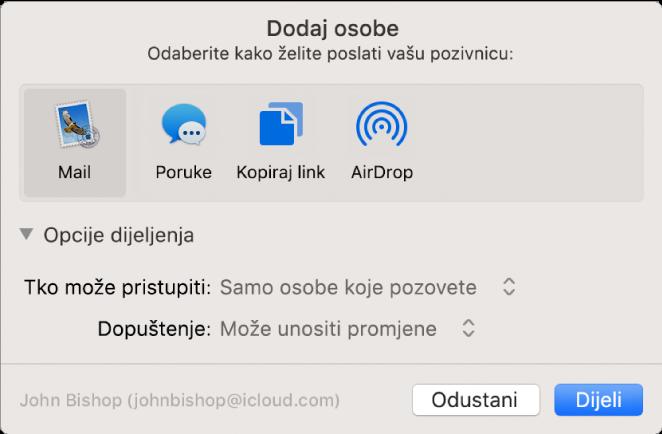 Prozor Dodaj osobe s prikazom aplikacija koje možete koristiti za izradu pozivnica i opcija za dijeljenje dokumenata.