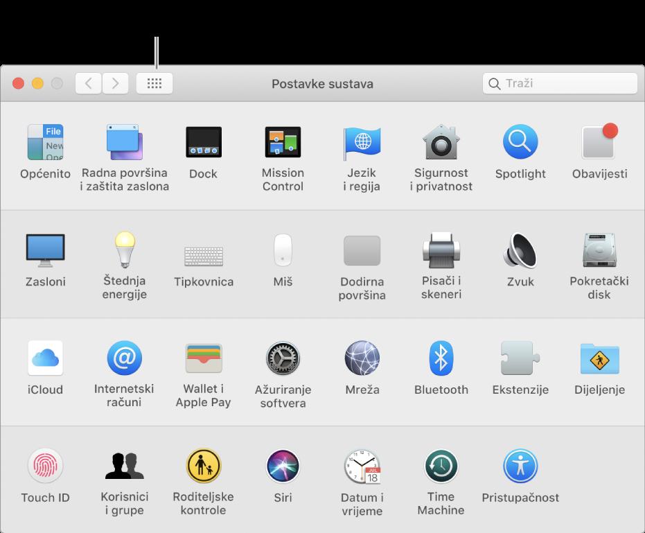 Prozor Postavke sustava koji  prikazuje mrežu ikona. Kliknite na tipku Prikaži sve u alatnoj traci prozora za prikaz postavki sustava u obliku popisa ili radi promjene izgleda mreže.