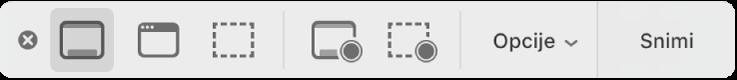 Ploča Screenshot s alatima.