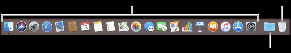 Dock koji prikazuje ikone aplikacija, stog preuzimanja i Smeće.