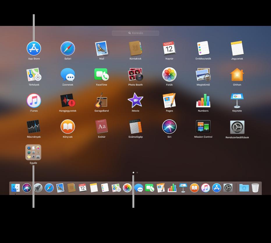 A megnyitható alkalmazásokat megjelenítő Launchpad.