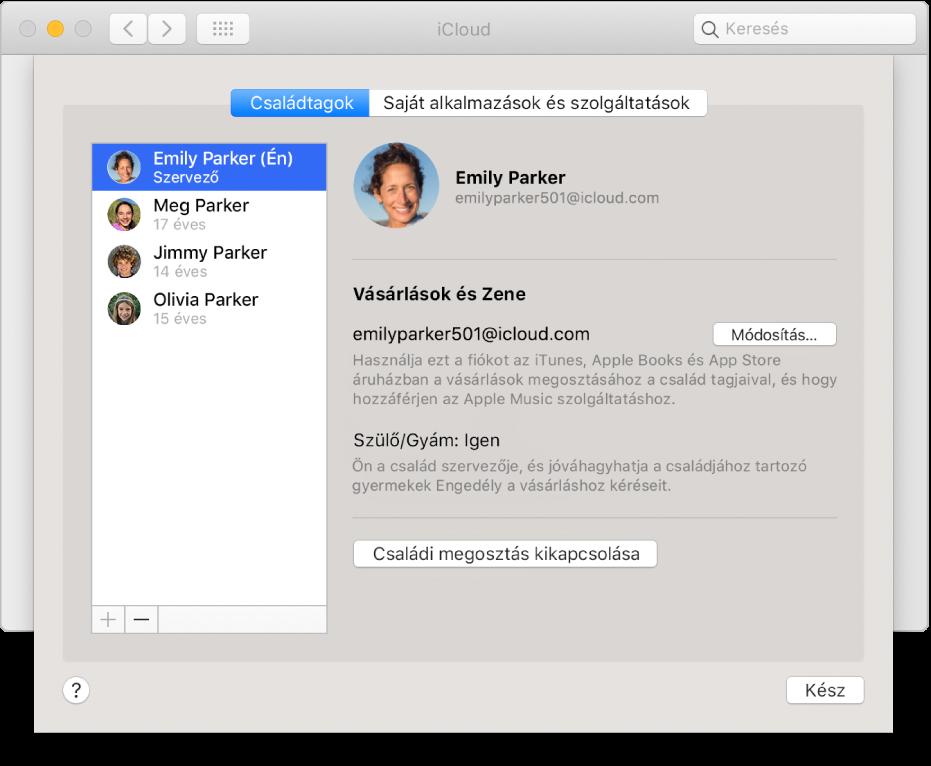 Az iCloud beállítások Családtagok panelje.
