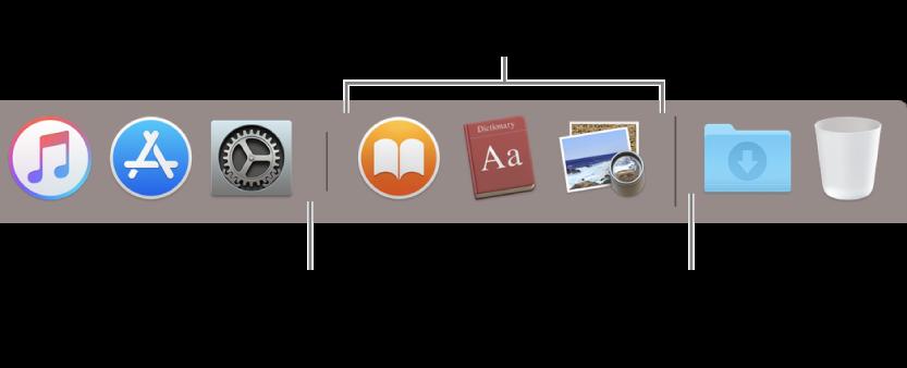 A Dock elválasztó vonala az alkalmazások és a fájlok, illetve mappák között.