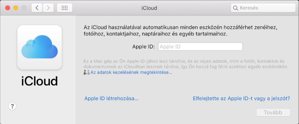 Az iCloud beállítások, az Apple ID-hoz tartozó név és jelszó megadására készen.