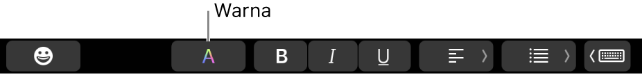 Touch Bar menampilkan tombol Warna di antara tombol khusus app.