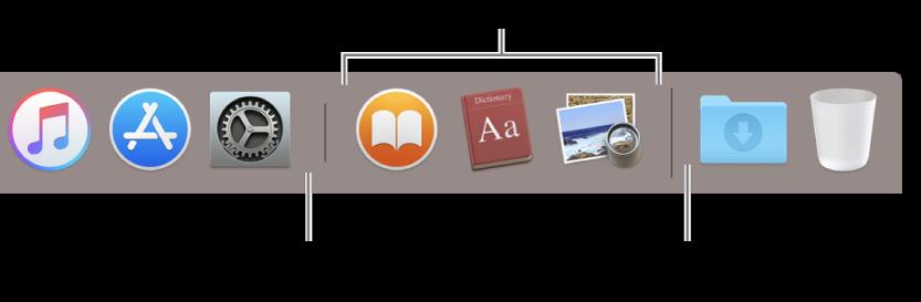 Ujung kanan Dock. Tambahkan app ke sebelah kiri bagian app yang baru digunakan dan tambahkan folder ke sebelah kanan bagian tersebut, tempat adanya tumpukan Unduhan dan Tong Sampah.