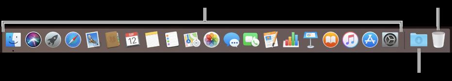 Dock menampilkan ikon untuk app, tumpukan Unduhan, dan Tong Sampah.