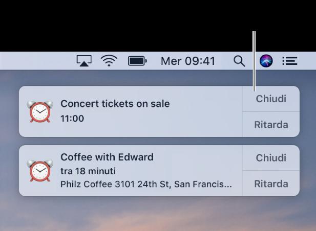 Notifiche dell'app Calendario nell'angolo superiore destro dello schermo.