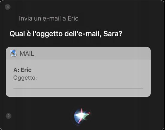 Finestra di Siri che mostra un messaggio e-mail che viene dettato.