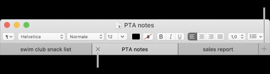 Finestra TextEdit con tre pannelli nella barra dei pannelli, disponibile sotto la barra di formattazione. In un pannello è presente il pulsante Chiudi. Il pulsante Aggiungi è disponibile all'estremità destra della barra del pannello.