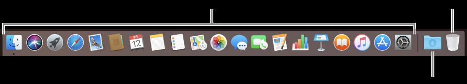 アプリケーションアイコン、ダウンロードスタック、ゴミ箱が表示された Dock。