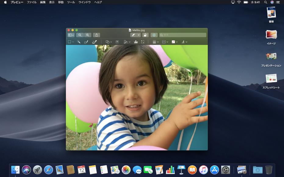 ダークの外観に設定された Mac のデスクトップ。ダークになったアプリケーションウインドウ、Dock、およびメニューバーが表示されています。