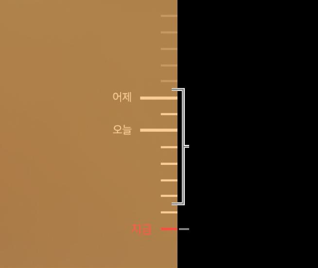 백업 타임라인의 표시점. 탐색 중인 백업을 나타내는 빨간색 표시점.