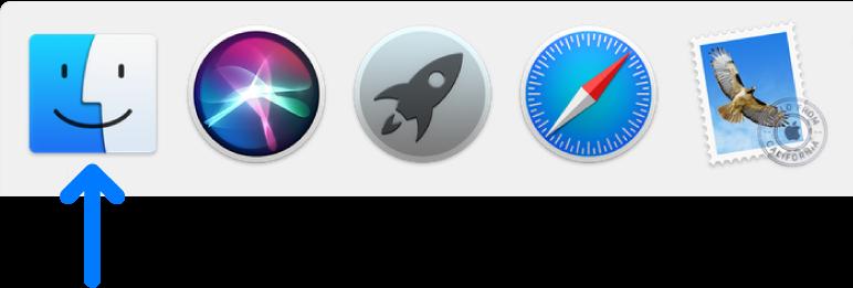 Dock의 왼쪽에 있는 Finder 아이콘을 가르키는 파란색 화살표.