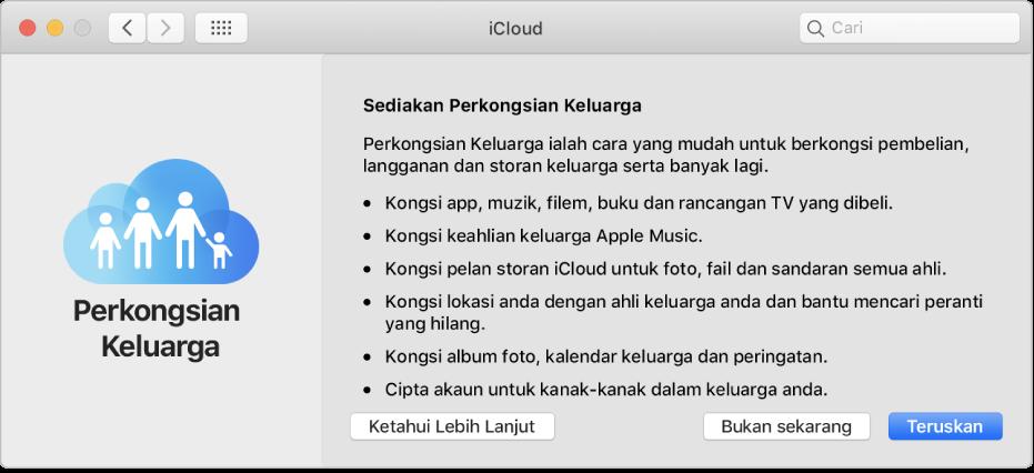 Anak tetingkap sediakan Perkongsian dalam keutamaan iCloud.