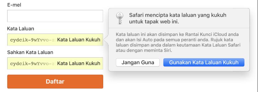 Isyarat Safari menunjukkan Safari mencipta kata laluan kukuh untuk tapak web dan menyimpannya dalam Rantai Kunci iCloud.