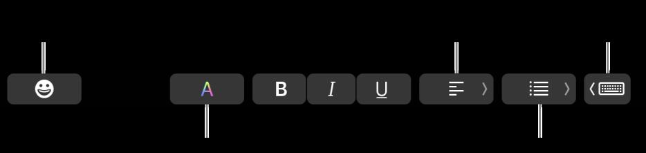 Touch Bar dengan butang daripada app Mail yang termasuk—dari kiri ke kanan—Emoji, Warna, Tebal, Italik, Garis Bawah, Penjajaran, Senarai dan Cadangan Menaip.