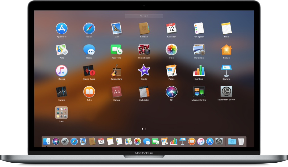 Launchpad menunjukkan ikon app dalam corak grid merentasi skrin.