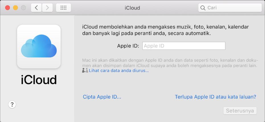 Keutamaan iCloud, bersedia untuk entri nama dan kata laluan Apple ID.