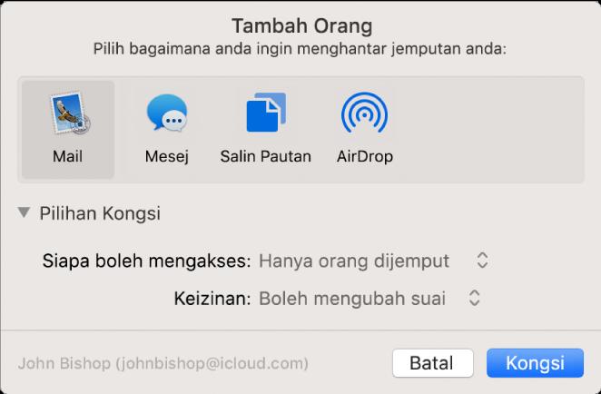 Tetingkap Tambah Orang menunjukkan app yang anda boleh gunakan untuk membuat jemputan dan pilihan untuk perkongsian dokumen.