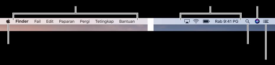 Bar menu. Pada sebelah kiri adalah menu Apple dan menu app. Pada sebelah kanan adalah menu status, serta ikon Spotlight, Siri dan Pusat Pemberitahuan.