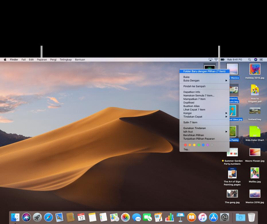 Contoh desktop dengan fail. Gunakan menu Lihat, di penjuru kiri atas skrin, untuk mengumpulkan dan menyisih ikon. Anda boleh menyusun fail pada desktop—untuk meletakkannya dalam folder baru pilih fail, Control-klik satu, kemudian pilih Folder Baru dengan Pilihan.