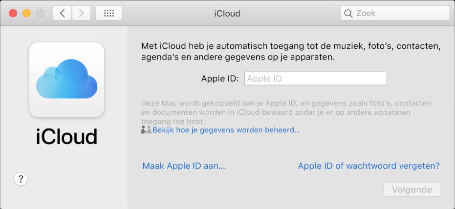 Het paneel 'iCloud' in Systeemvoorkeuren, klaar voor de invoer van de naam en het wachtwoord voor een AppleID.