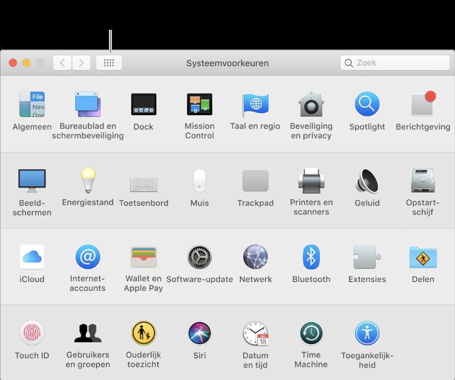 Het venster 'Systeemvoorkeuren' met het raster met symbolen. Klik op de knop 'Toon alles' in de knoppenbalk van het venster om de systeemvoorkeuren in een lijst weer te geven, of om de weergave van het raster te wijzigen.