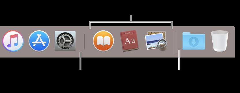 De scheidingslijn tussen programma's en bestanden/mappen in het Dock.