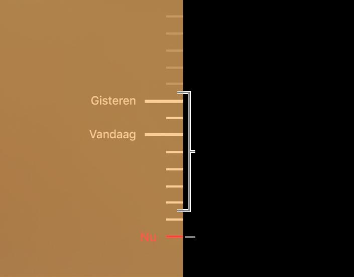 Maatstreepjes op de tijdbalk met reservekopieën. Het rode streepje geeft de reservekopie aan waarin je bladert.