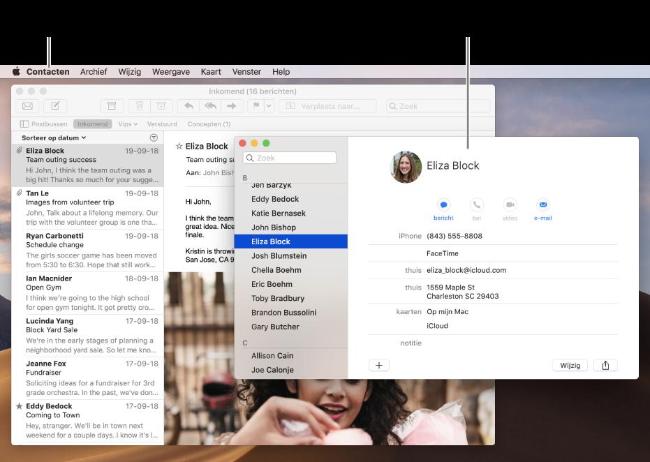 Een voorbeeld van een bureaublad met meerdere geopende vensters maar slechts één actief programma.