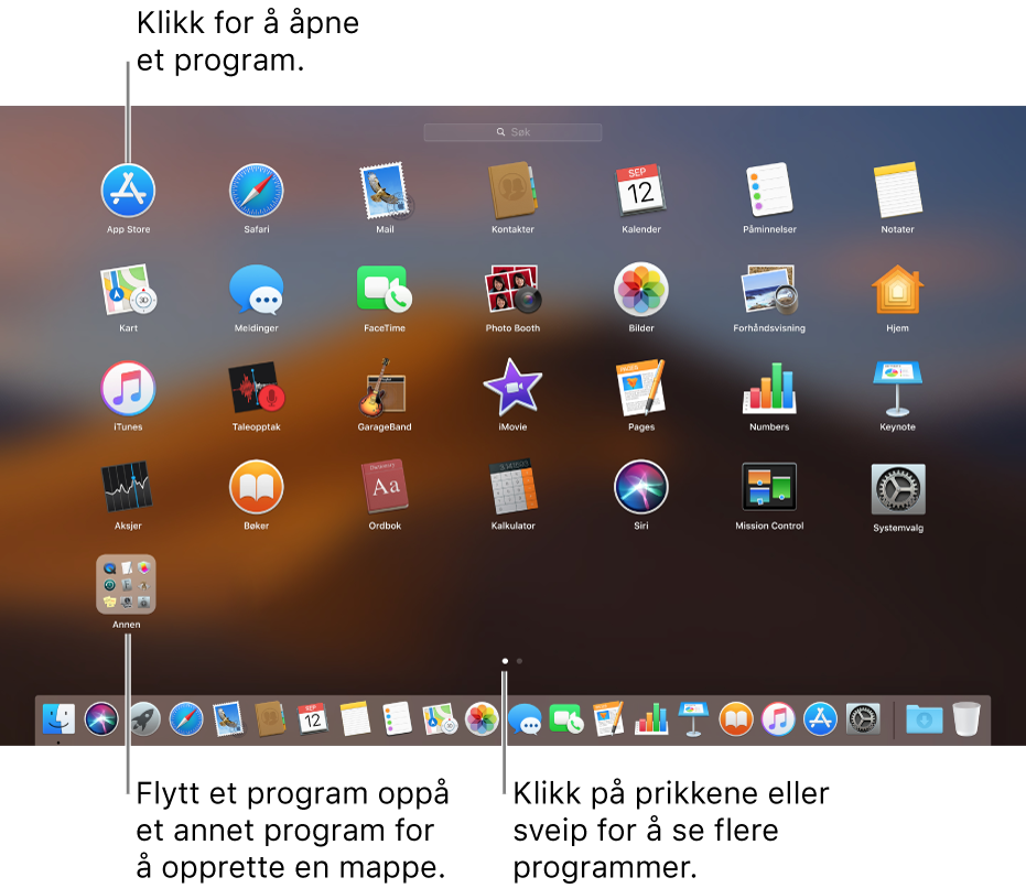 Launchpad viser programmene du kan åpne.