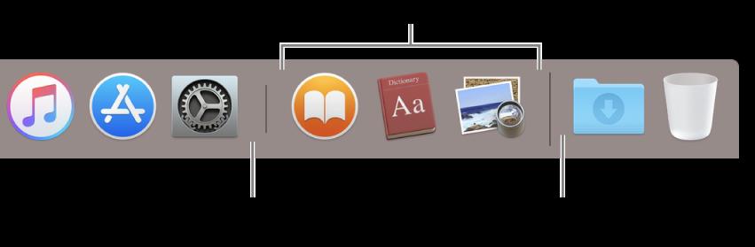 Skillelinjen mellom programmer og filer og mapper i Dock.
