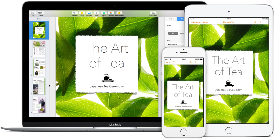 De samme filene og mappene vises i iCloud Drive i et Finder-vindu på en Mac og i iCloud Drive-appen på iPhone og iPad.