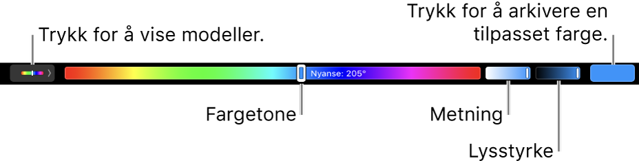 Touch Bar som viser skyveknapper for fargetone, metning og lysstyrke for HSB-modellen. I venstre ende er knappen for å vise alle profiler. Til høyre er knappen for å arkivere en tilpasset farge.