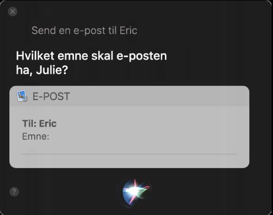 Siri-vinduet som viser en e-postmelding som dikteres.
