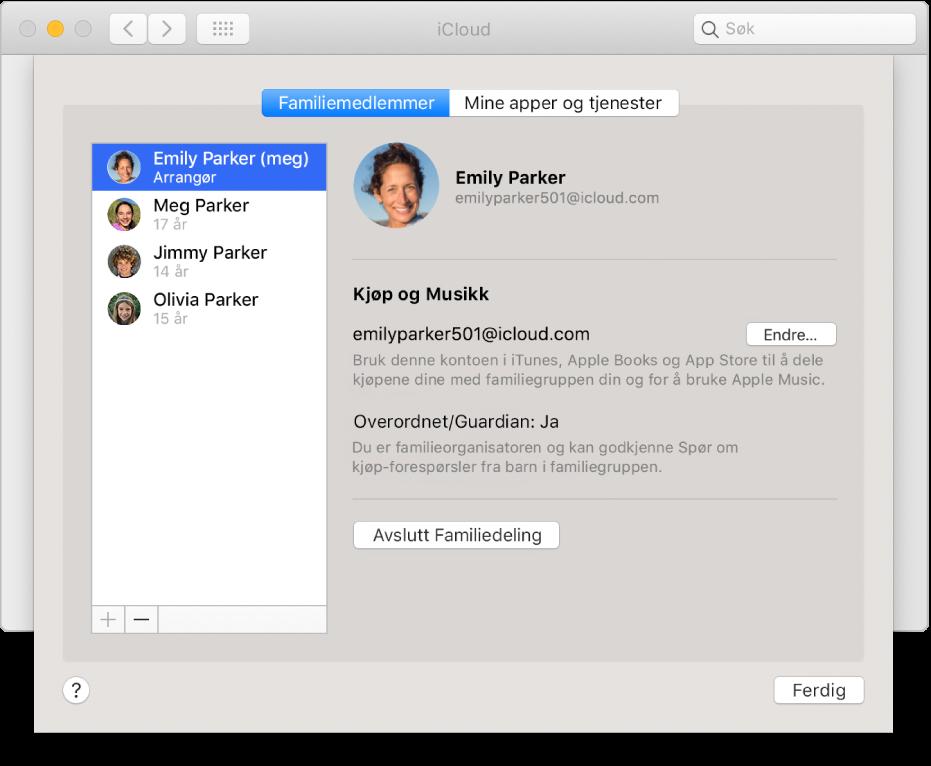 Familiemedlemmer-panelet i iCloud-valgpanelet.