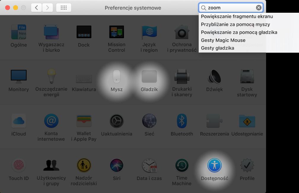 """Okno Preferencji systemowych ztekstem """"zoom"""" wpisanym wpolu wyszukiwania, listą pasujących wyników wyświetloną poniżej pola wyszukiwania oraz trzema podświetlonymi ikonami preferencji."""
