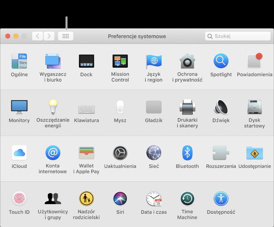 Okno Preferencji systemowych zsiatką ikon. Kliknij wprzycisk Pokaż wszystkie na pasku narzędzi okna, aby zobaczyć preferencje systemowe wpostaci listy lub zmienić wygląd siatki.