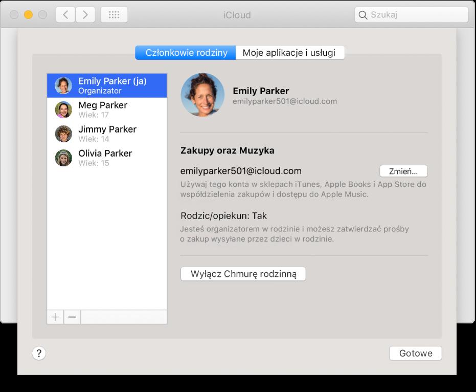Panel Członkowie rodziny wpreferencjach iCloud.